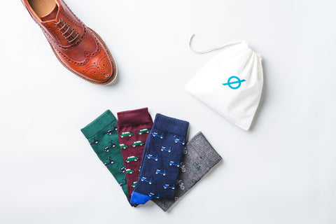 MOTO BLUE GREEN COTTON SOCKS - Nickolson
