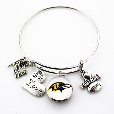 Baltimore Ravens Adjustable Bangle Bracelet (Today 50% Off + FREE Shipping!) - FanFaire