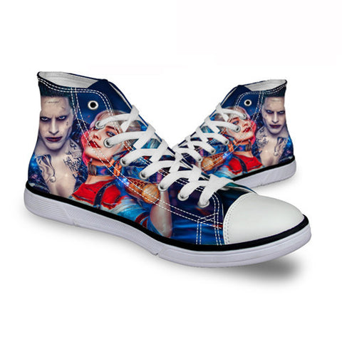 Harley Quinn Joker Gotham Romance DC Comics High Top Canvas Shoes Suicide Squad Movie - FanFaire