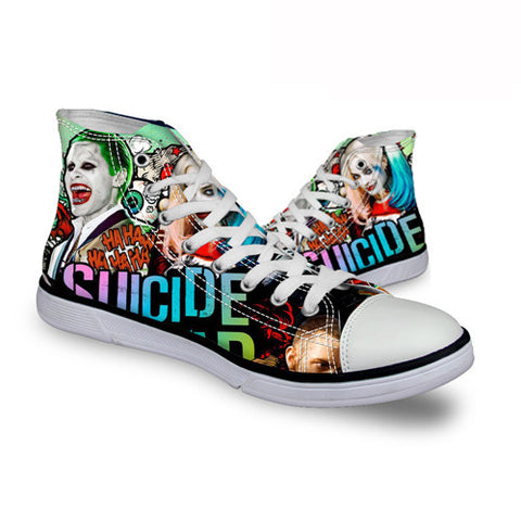 Harley Quinn Joker Ha Ha Ha DC Comics High Top Canvas Shoes Suicide Squad Movie - FanFaire