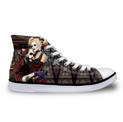 Harley Quinn Joker Just Us DC Comics High Top Canvas Shoes Suicide Squad Movie - FanFaire
