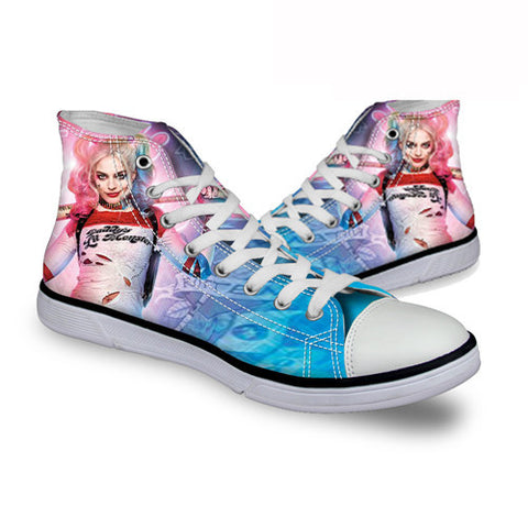 Harley Quinn Daddy's Lil Monster DC Comics High Top Canvas Shoes Suicide Squad Movie - FanFaire