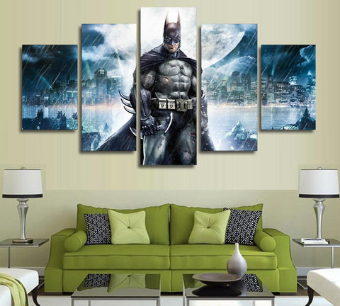 Batman Come If You Dare DC Comics Home Office Decor 5 Panel Wall Art (50% Off + FREE Shipping) - FanFaire