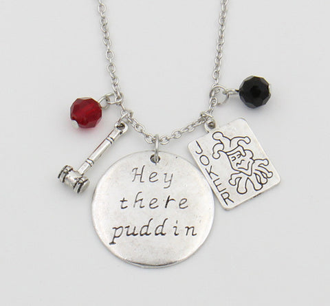 "Harley Quinn Necklace,""Hey there Puddin"" - FanFaire"