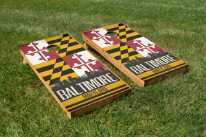 Baltimore State Flag Skyline - The Cornhole Crew