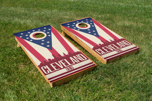Cleveland State Flag Skyline - The Cornhole Crew