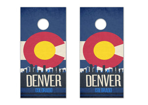 Denver State Flag Skyline - The Cornhole Crew