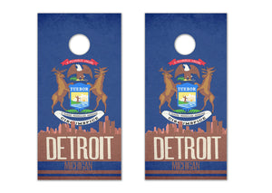 Detroit State Flag Skyline