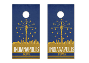 Indianapolis State Flag Skyline - The Cornhole Crew