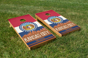 Kansas City State Flag Skyline - The Cornhole Crew