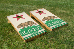 Los Angeles State Flag Skyline - The Cornhole Crew