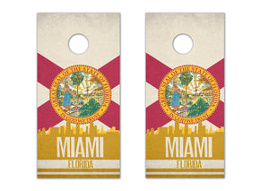 Miami State Flag Skyline - The Cornhole Crew