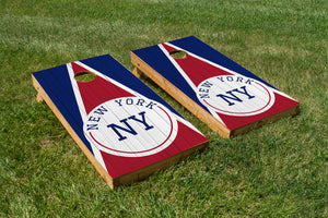New York Blue & Red Wood Grain - The Cornhole Crew