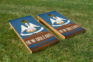 New Orleans State Flag Skyline - The Cornhole Crew