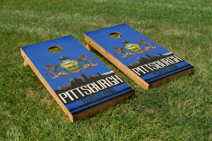 Pittsburgh State Flag Skyline - The Cornhole Crew