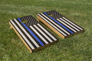 Police Blue Stripe American Flag - The Cornhole Crew