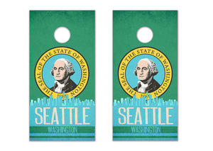 Seattle State Flag Skyline - The Cornhole Crew