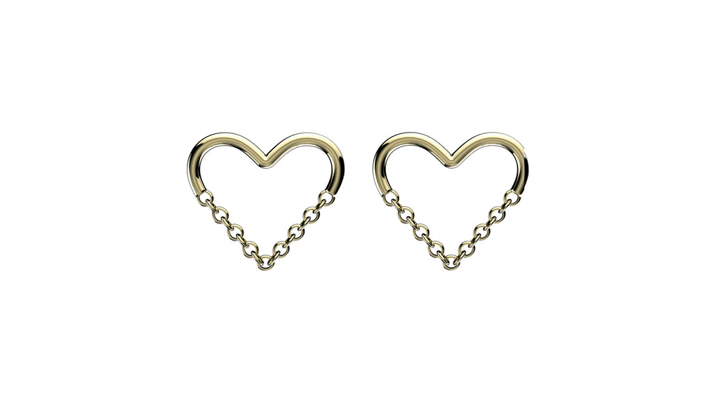 Love Chain Studs - Gold