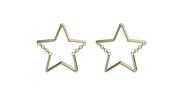 Star Chain Studs - Gold