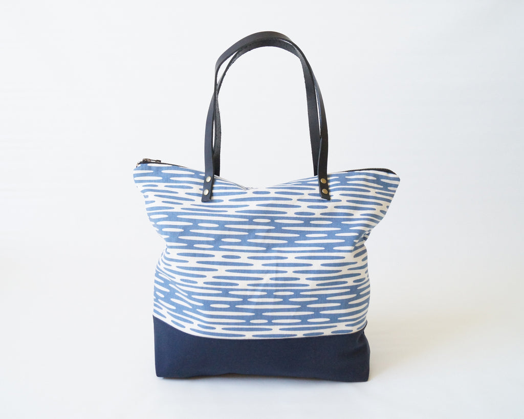 Denim + Navy Ripplets Shopping Tote