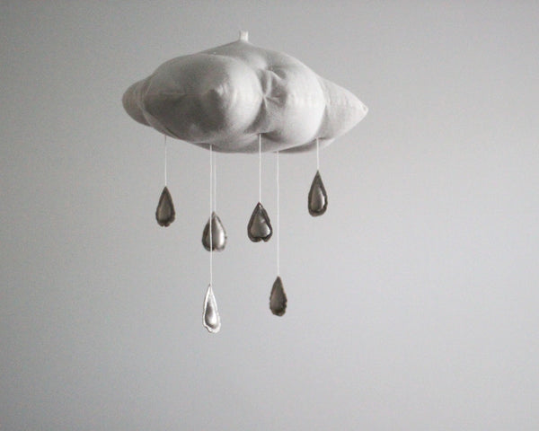 White Cloud + Silver Raindrops Mobile ---