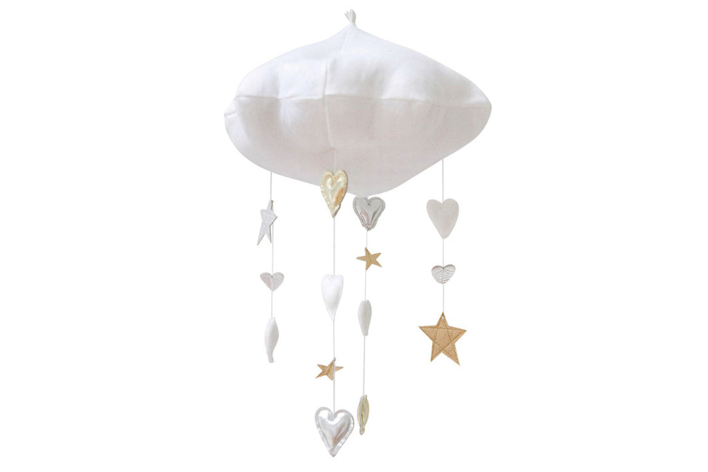 LUXE CASCADING NEUTRAL HEART AND STAR CLOUD MOBILE