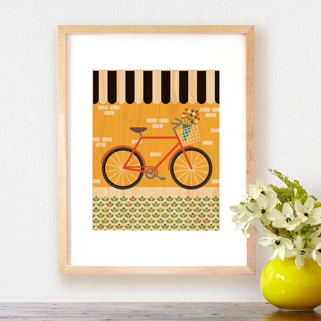 Bike Print on Wood ---