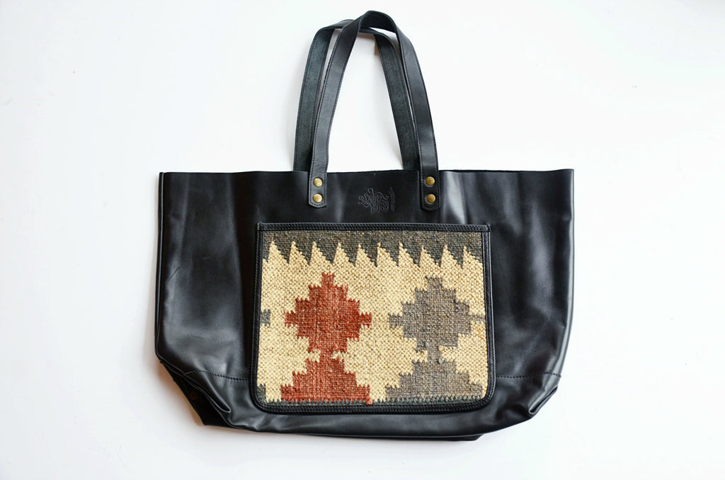 Annah Leather + Kilim Naked Tote