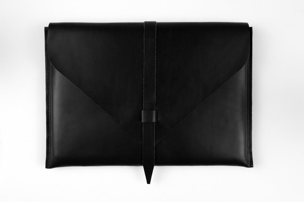 Black Leather Laptop Case ---