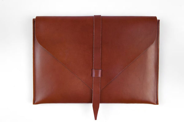 Brown Leather Laptop Case ---