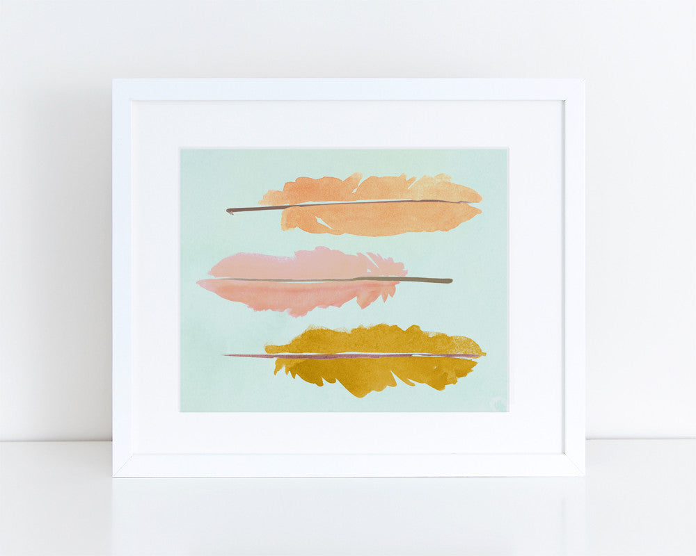 Feathers Watercolor Print