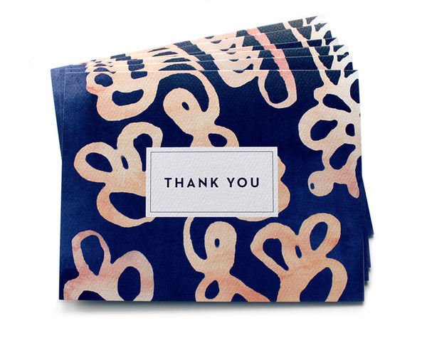 Batik Watercolor Thank You Cards (Set of 6)