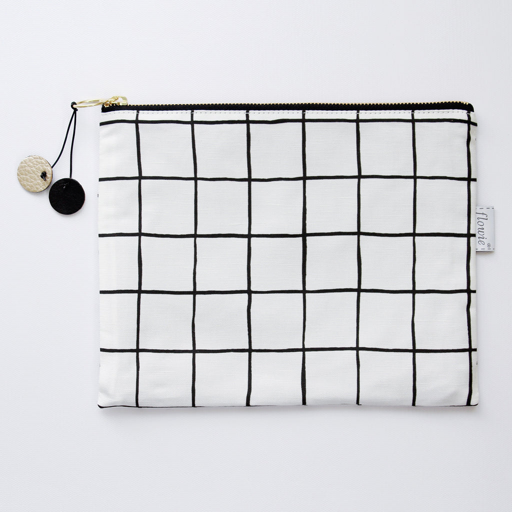Grid Large Zipper Pouch