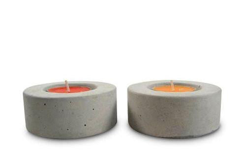 No. 1 Round Concrete Tea Light Candle Holder (Set of 4)