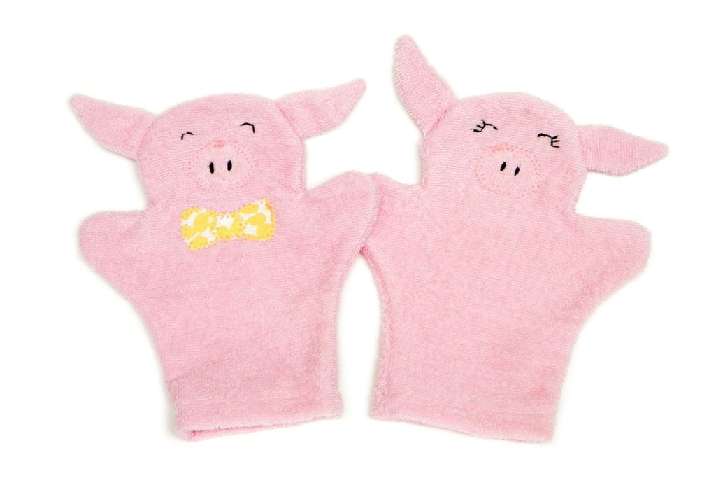 Playful Piglet Bath Mitts (Set of 2)