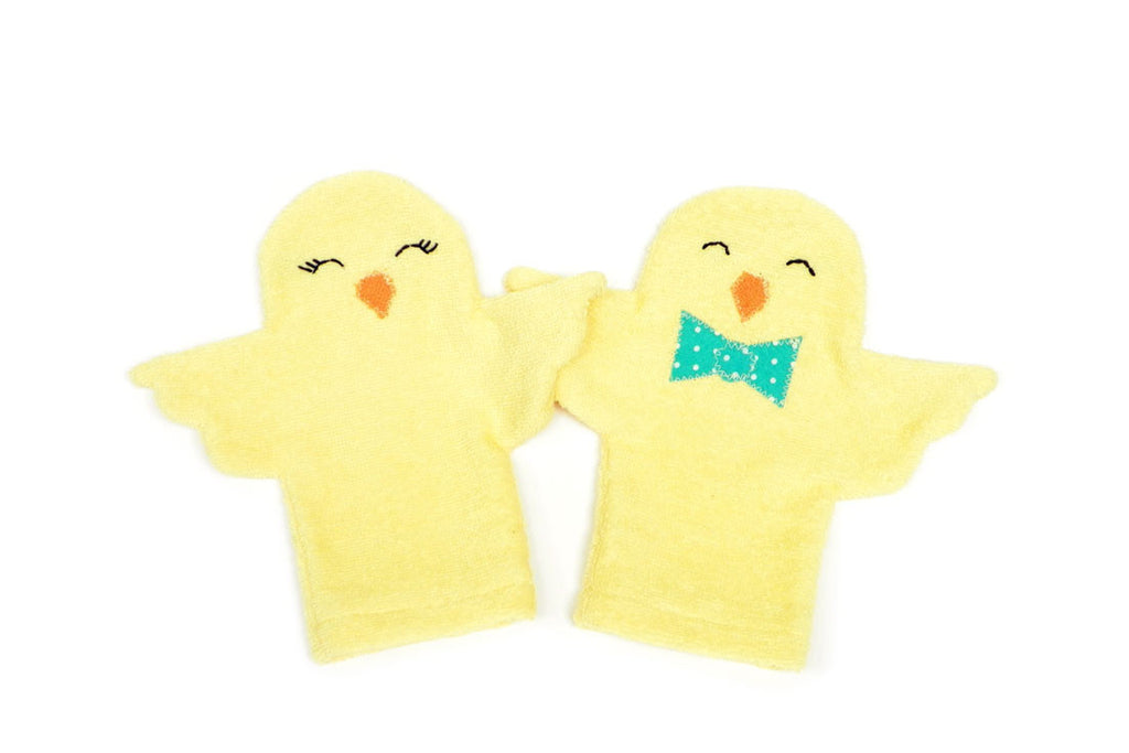 Spring Chick Sunshine Bath Mitts (Set of 2)