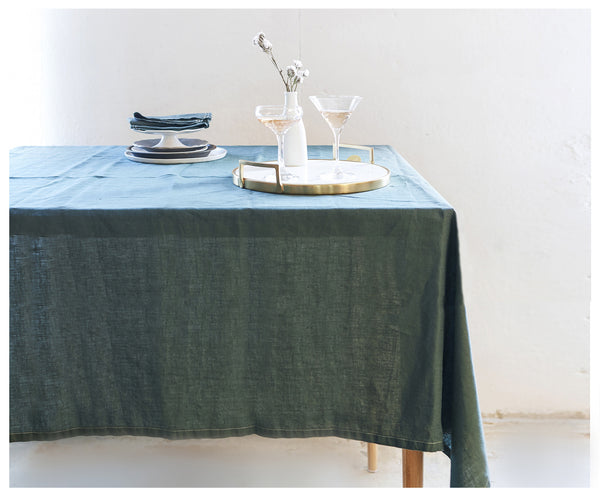 Rich Green Linen Bohemian Tablecloth