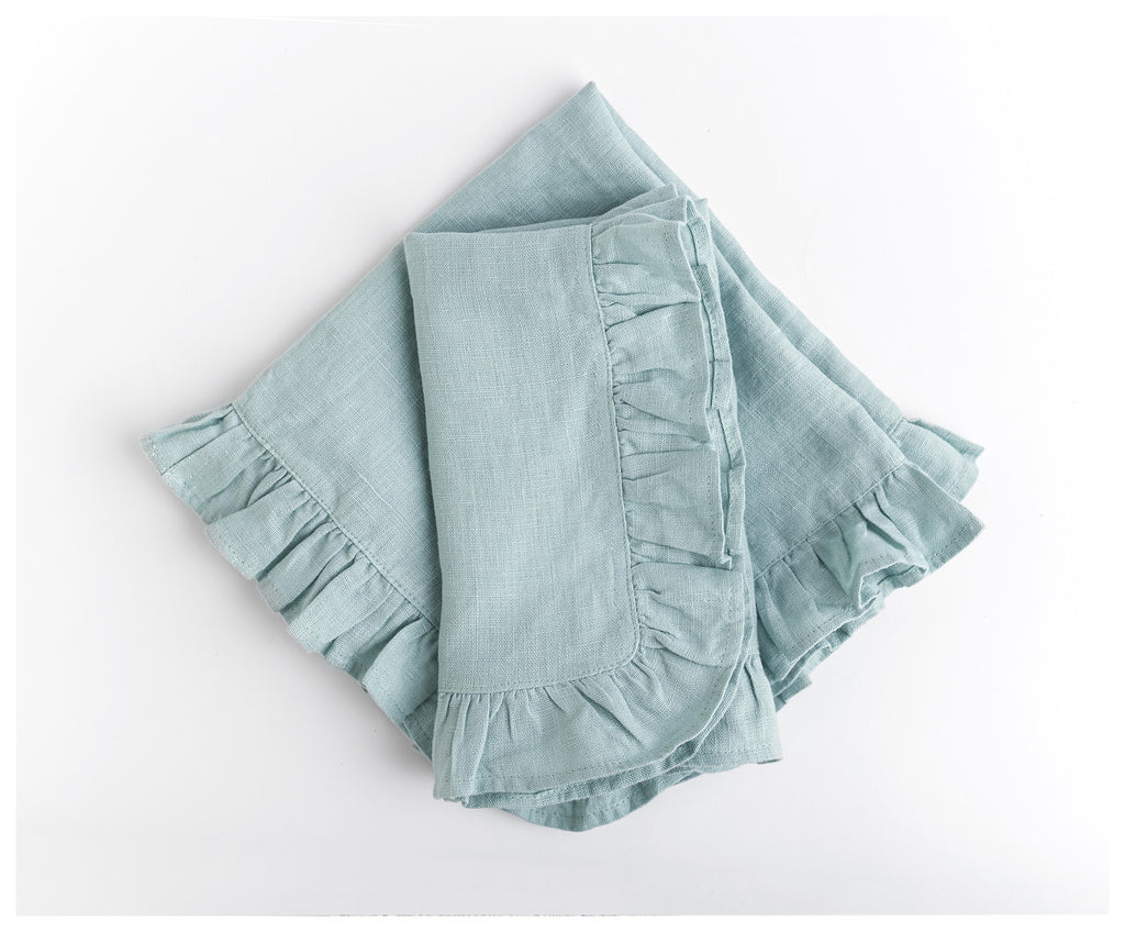 Mint Ruffled Linen Napkins (Set of 2)