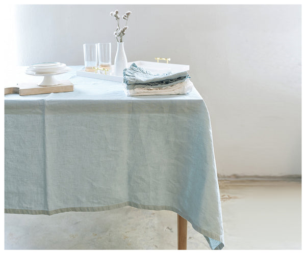 Creamy Mint Linen Bohemian Tablecloth