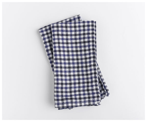 Blue Gingham Linen Napkins (Set of 2)
