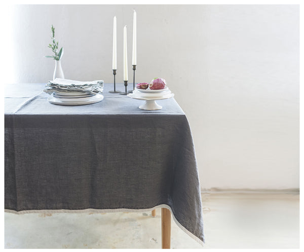 Charcoal Linen Haydee Tablecloth
