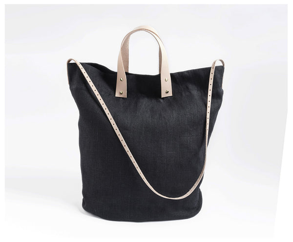 Linen Tote with Leather Accents