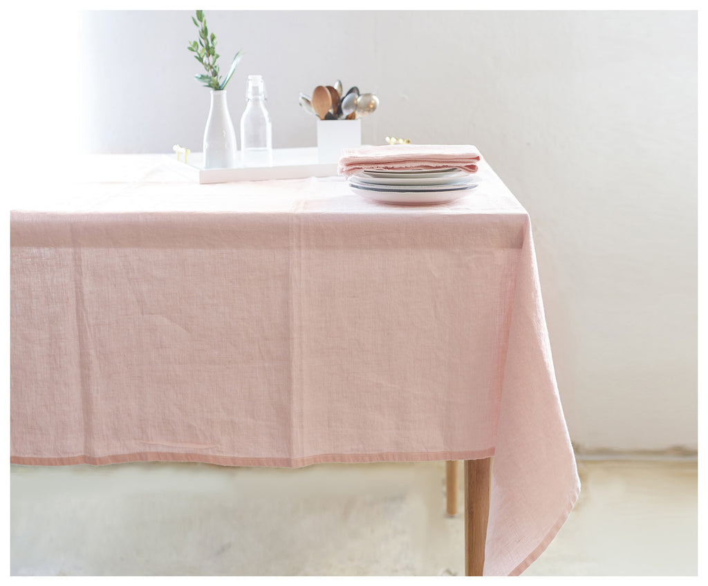 Light Pink Linen Bohemian Tablecloth