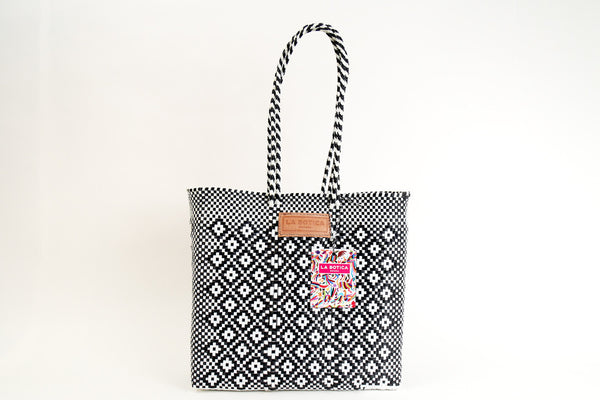 Black + White Woven Tote Bag ---