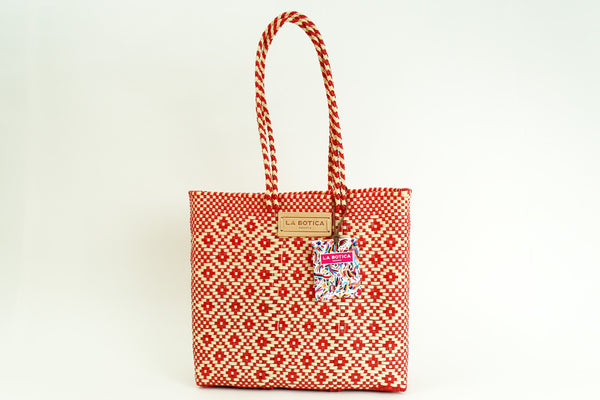 Red + Beige Woven Tote Bag ---
