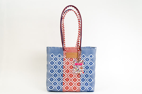 Navy + Red Woven Tote Bag ---