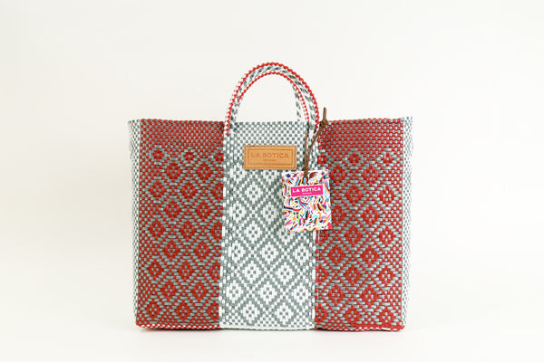 Red + White Woven Tote Bag ---