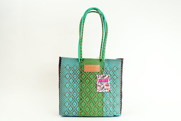 Turquoise + Lime Woven Tote Bag ---