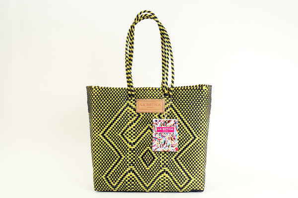 Yellow + Black Woven Tote Bag ---