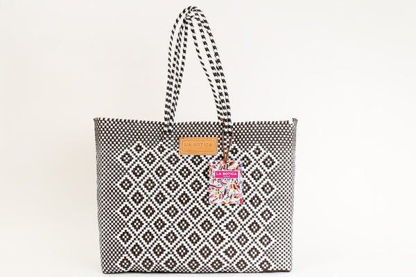Chocolate + White Woven Tote Bag ---